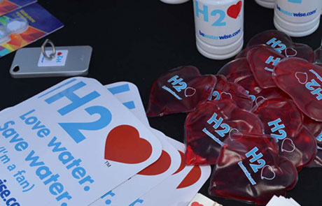 sticker with h2love campaign